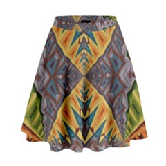 Kaleidoscopic Pattern Colorful Kaleidoscopic Pattern With Fabric Texture High Waist Skirt