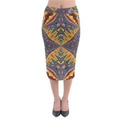 Kaleidoscopic Pattern Colorful Kaleidoscopic Pattern With Fabric Texture Midi Pencil Skirt
