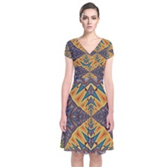 Kaleidoscopic Pattern Colorful Kaleidoscopic Pattern With Fabric Texture Short Sleeve Front Wrap Dress