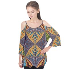 Kaleidoscopic Pattern Colorful Kaleidoscopic Pattern With Fabric Texture Flutter Tees