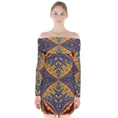 Kaleidoscopic Pattern Colorful Kaleidoscopic Pattern With Fabric Texture Long Sleeve Off Shoulder Dress
