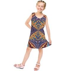 Kaleidoscopic Pattern Colorful Kaleidoscopic Pattern With Fabric Texture Kids  Tunic Dress