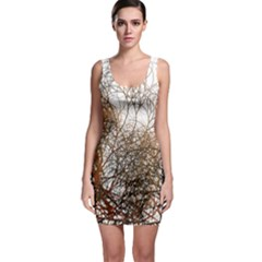 Digitally Painted Colourful Winter Branches Illustration Sleeveless Bodycon Dress