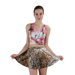 Digitally Painted Colourful Winter Branches Illustration Mini Skirt