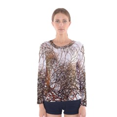 Digitally Painted Colourful Winter Branches Illustration Women s Long Sleeve Tee