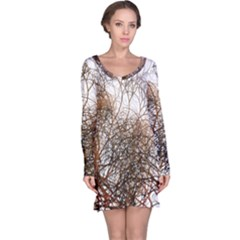 Digitally Painted Colourful Winter Branches Illustration Long Sleeve Nightdress