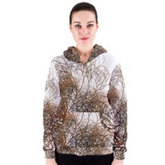 Digitally Painted Colourful Winter Branches Illustration Women s Zipper Hoodie