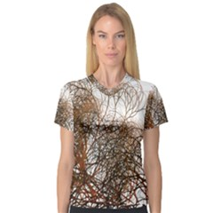 Digitally Painted Colourful Winter Branches Illustration Women s V Neck Sport Mesh Tee
