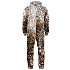 Digitally Painted Colourful Winter Branches Illustration Hooded Jumpsuit (Men)