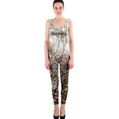 Digitally Painted Colourful Winter Branches Illustration OnePiece Catsuit