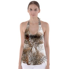 Digitally Painted Colourful Winter Branches Illustration Babydoll Tankini Top