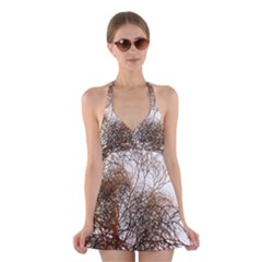 Digitally Painted Colourful Winter Branches Illustration Halter Swimsuit Dress
