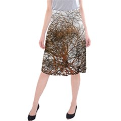 Digitally Painted Colourful Winter Branches Illustration Midi Beach Skirt