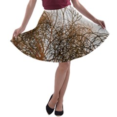 Digitally Painted Colourful Winter Branches Illustration A-line Skater Skirt