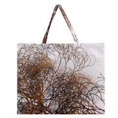 Digitally Painted Colourful Winter Branches Illustration Zipper Large Tote Bag
