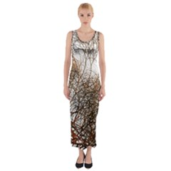 Digitally Painted Colourful Winter Branches Illustration Fitted Maxi Dress