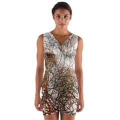 Digitally Painted Colourful Winter Branches Illustration Wrap Front Bodycon Dress