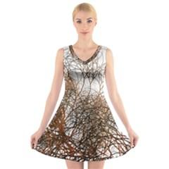 Digitally Painted Colourful Winter Branches Illustration V Neck Sleeveless Skater Dress