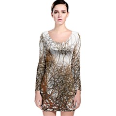 Digitally Painted Colourful Winter Branches Illustration Long Sleeve Velvet Bodycon Dress