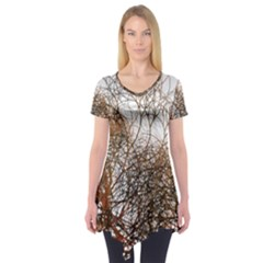 Digitally Painted Colourful Winter Branches Illustration Short Sleeve Tunic
