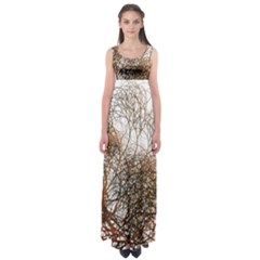 Digitally Painted Colourful Winter Branches Illustration Empire Waist Maxi Dress