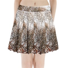 Digitally Painted Colourful Winter Branches Illustration Pleated Mini Skirt