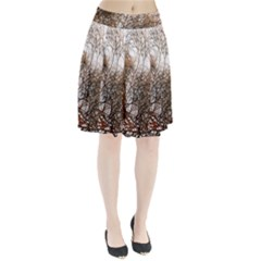 Digitally Painted Colourful Winter Branches Illustration Pleated Skirt