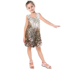 Digitally Painted Colourful Winter Branches Illustration Kids  Sleeveless Dress