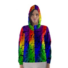 A Creative Colorful Background Hooded Wind Breaker (Women)