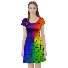 A Creative Colorful Background Short Sleeve Skater Dress