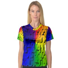 A Creative Colorful Background Women s V-Neck Sport Mesh Tee