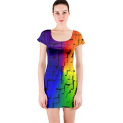 A Creative Colorful Background Short Sleeve Bodycon Dress