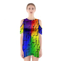 A Creative Colorful Background Shoulder Cutout One Piece