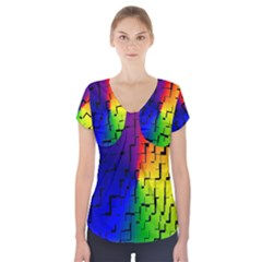 A Creative Colorful Background Short Sleeve Front Detail Top