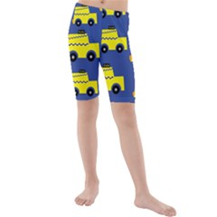 A Fun Cartoon Taxi Cab Tiling Pattern Kids  Mid Length Swim Shorts