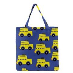 A Fun Cartoon Taxi Cab Tiling Pattern Grocery Tote Bag