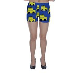 A Fun Cartoon Taxi Cab Tiling Pattern Skinny Shorts
