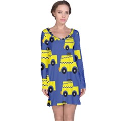 A Fun Cartoon Taxi Cab Tiling Pattern Long Sleeve Nightdress