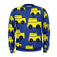 A Fun Cartoon Taxi Cab Tiling Pattern Men s Sweatshirt