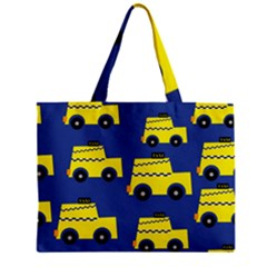 A Fun Cartoon Taxi Cab Tiling Pattern Zipper Mini Tote Bag