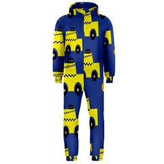 A Fun Cartoon Taxi Cab Tiling Pattern Hooded Jumpsuit (Men)