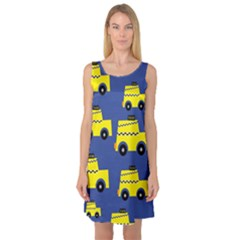 A Fun Cartoon Taxi Cab Tiling Pattern Sleeveless Satin Nightdress