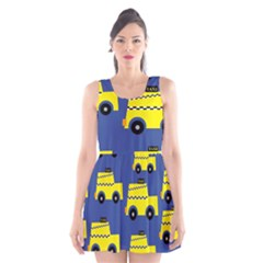 A Fun Cartoon Taxi Cab Tiling Pattern Scoop Neck Skater Dress