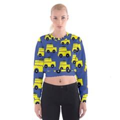 A Fun Cartoon Taxi Cab Tiling Pattern Cropped Sweatshirt