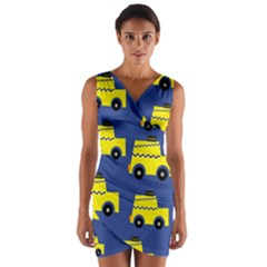 A Fun Cartoon Taxi Cab Tiling Pattern Wrap Front Bodycon Dress