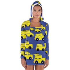 A Fun Cartoon Taxi Cab Tiling Pattern Women s Long Sleeve Hooded T-shirt