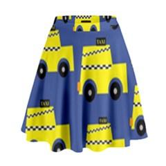 A Fun Cartoon Taxi Cab Tiling Pattern High Waist Skirt
