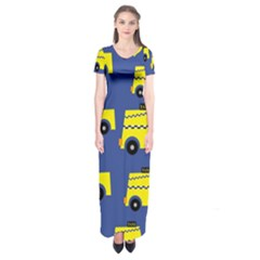 A Fun Cartoon Taxi Cab Tiling Pattern Short Sleeve Maxi Dress