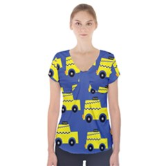 A Fun Cartoon Taxi Cab Tiling Pattern Short Sleeve Front Detail Top