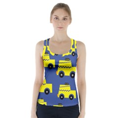 A Fun Cartoon Taxi Cab Tiling Pattern Racer Back Sports Top